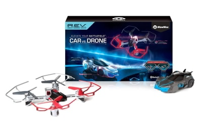 drone and car